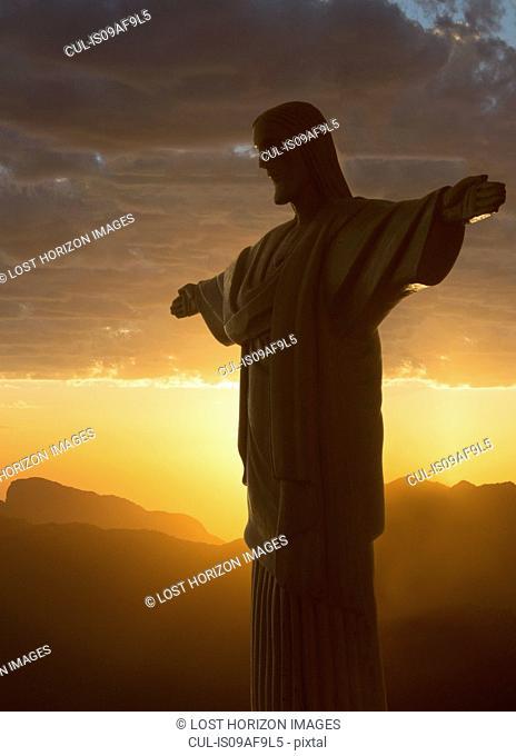 Christ the Redeemer statue at sunset, Rio De Janeiro, Brazil