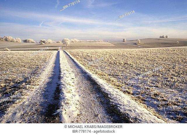 Winter landscape in the Swabian Alb, Baden-Wuerttemberg, Germany, Europe
