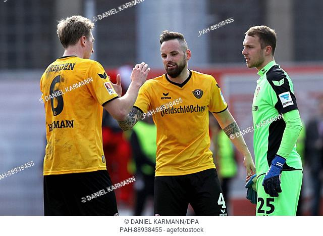 Soccer: 2nd Bundesliga division, Wuerzberg Kickers vs. Dynamo Dresden, 24th match day at the Flyeralarm Arena in Wuerzburg, Germany, 11 March 2017