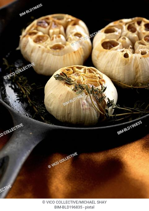 Roasted garlic on saute pan