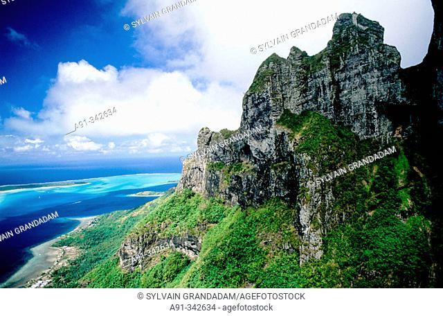 Aerial of the Otemanu peak in Bora-Bora. Leeward islands. Society archipelago. French Polynesia