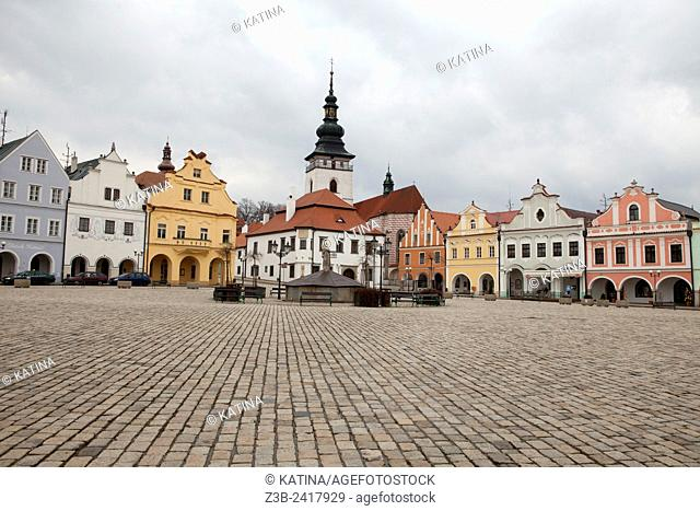 A view of Masaryk Square in Pelhrimov, a town located approximately half-way between Prague and Brno. It is known as â. œthe Gateway to the Highlandsâ