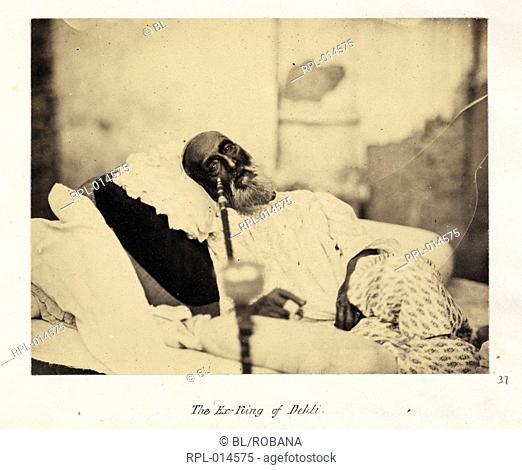 A portrait of the Ex-King of Dehli, Bahdur Shah II. This photograph was taken whilst he awaited trial by the British for his part in the rebellion