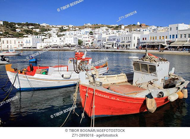 Greece, Cyclades, Mykonos, Hora, harbour, fishing boats,