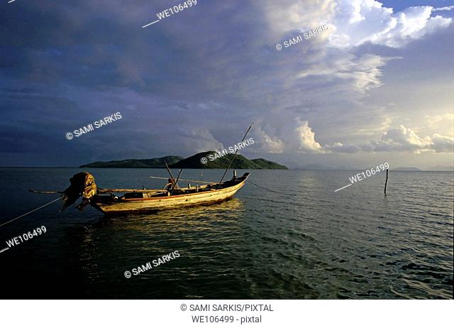 Clouds over the island of Ko Samui at sunset, Thailand