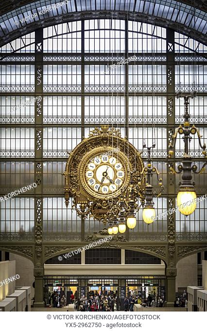 Musee D'Orsay interior clock. Paris, France