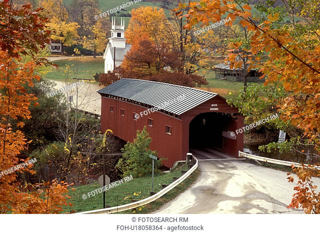 Vermont, covered bridge, A scenic fall setting of a church and Bridge at the Green covered bridge, circa 1852 in West Arlington