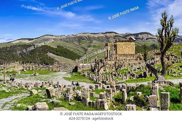 Algeria, Djemila City, Roman ruins of Djemila City, UNESCO, W. H. ,Forum and Septimus Severus Temple