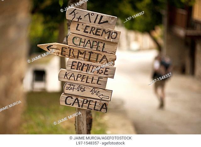 Signs in the village of Riego de Ambros along the Camino de Santiago