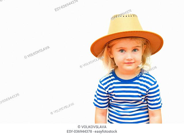 Happy child on a white background in the hat