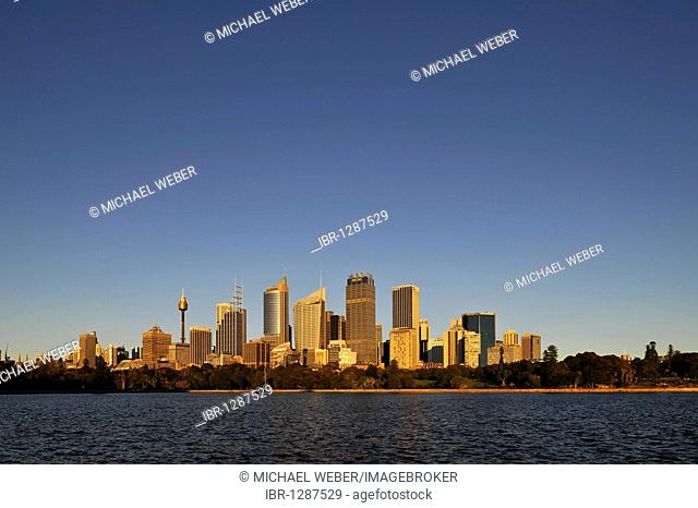 Skyline of Sydney at sunrise, TV Tower, Central Business District, Sydney, New South Wales, Australia