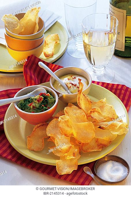 Warm chips with passion fruit and avocado dip, hot starter, Australia