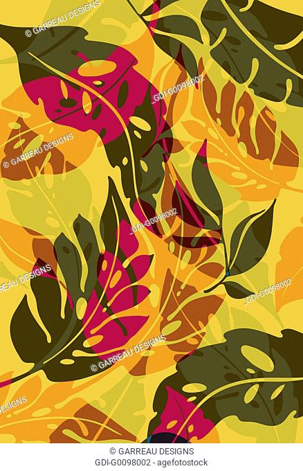 Tropical leaves layered over mustard colored background