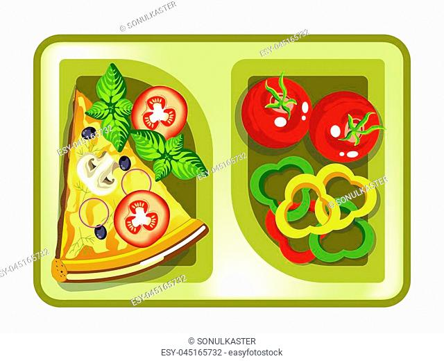 Lunch box with meals of pizza slice and vegetable salad. Vector isolated flat icon of lunchbox with food for healthy eating or diet nutrition