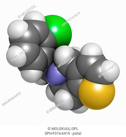 Ticlopidine antiplatelet drug molecule. Atoms are represented as spheres with conventional colour coding: hydrogen (white), carbon (grey), nitrogen (blue)