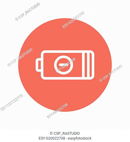 Negative power battery thin line icon