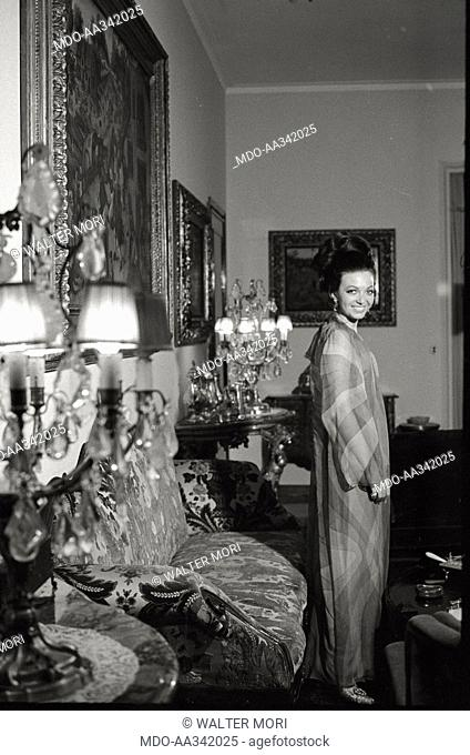 Portrait of Bedy Moratti in her house. The Italian actress Bedy Moratti posing for a portrait at her home. Milan, May 1968