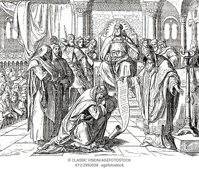 Louis the Pious at his palace of Attigny near Vouziers in the Ardennes in 822, performing penance before Pope Paschal I, for causing the death of his nephew...