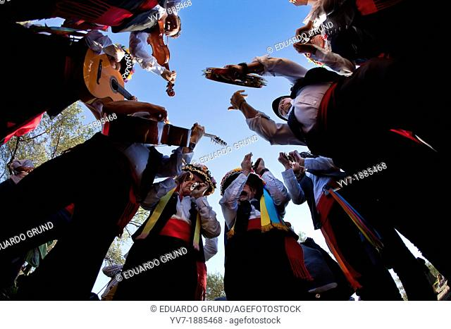 Verdiales in Action Group, low angle view, Verdiales Festival  Malaga, Andalusia, Spain