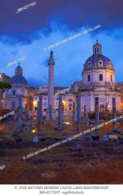 Trajan's Forum, Foro di Traiano, Santa María di Loreto church at dusk, Roman Forum, Rome, Lazio, Italy