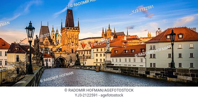 Prague old town center and Charles Bridge, Czech Republic