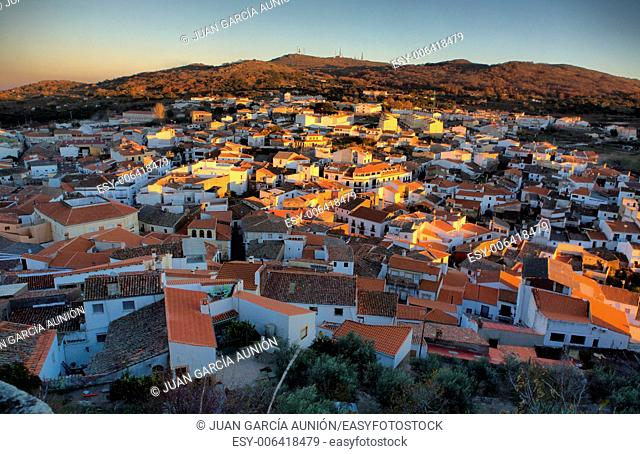 Panorama view of Montanchez at sunset from the castle, Caceres, Spain
