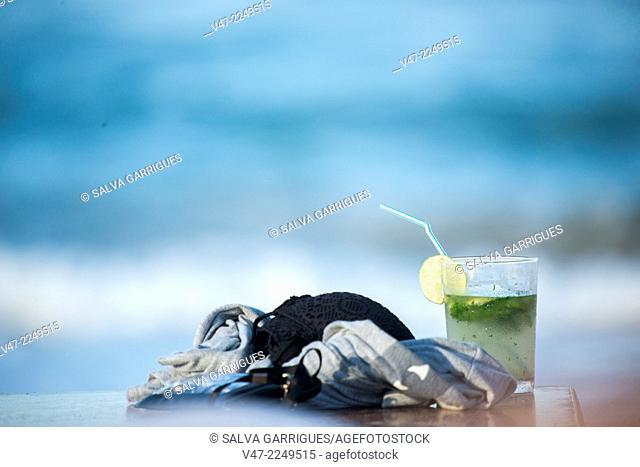 A glass of mojito facing the Mediterranean Sea