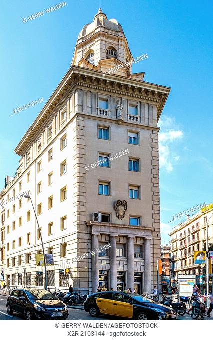 Impressive stone-faced building on the Carrer de Pelai in Barcelona