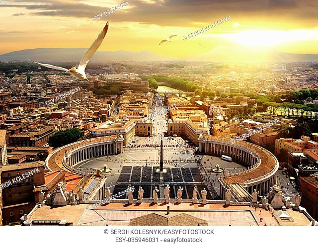 Panoramic view of Vatican from above, Italy