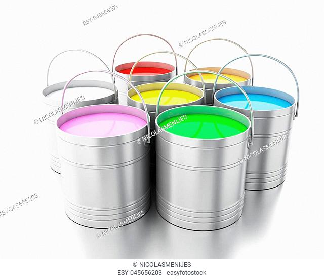 3d renderer image. Full paint buckets. Isolated white background