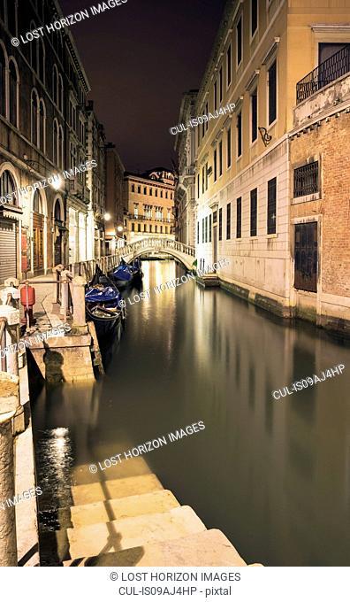 Canal steps at night, Venice, Veneto, Italy