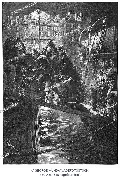 1890: passengers disembarking at night from an Irish Ferry moored in Holyhead harbour, Anglesey, an island off the north-west coast of Wales