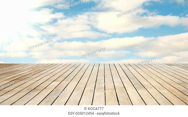 a Stage wood natural background with sky