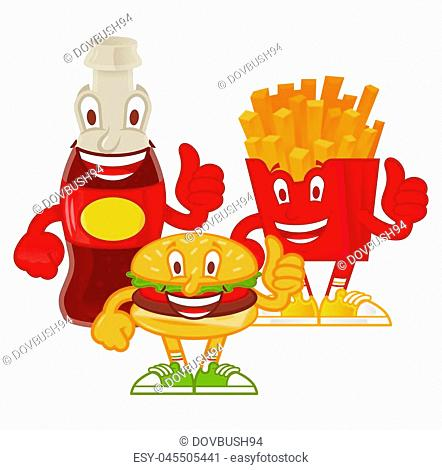 Good set of tasty cute cartoon character street food. Classical french fries in red box, fresh sparkling drink, American fat hamburger Menu for cafe bar fast...