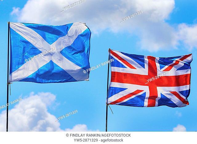 Union Jack flying beside the Scottish Saltire
