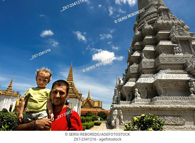 Inside Royal Palace. Phnom Penh. Cambodia. Travel with children's. Father traveling with her daughter. The Royal Palace of Cambodia is a complex of buildings