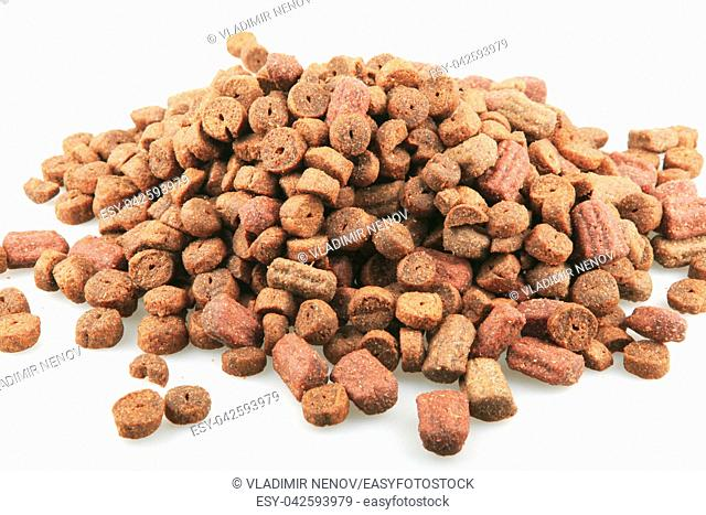 Dried pet food isolated on white background