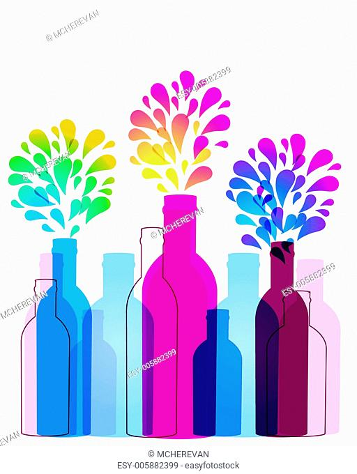 Abstract background with glass bottles