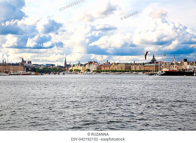 Stockholm old city with boats, view from sea