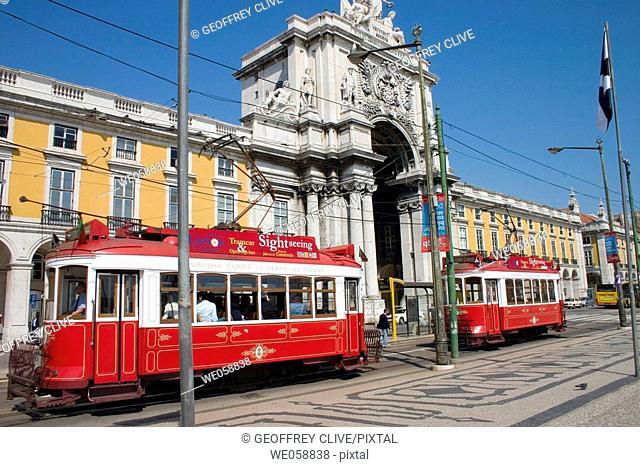 Trams in Praça do Comercio, Lisbon. Portugal
