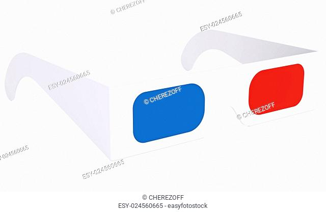 Paper anaglyph glasses. Isolated render on a white background