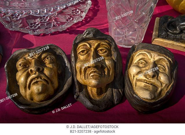 France, Nouvelle Aquitaine, Gironde, Monks figures, on the Saint Michel flea market at Bordeaux