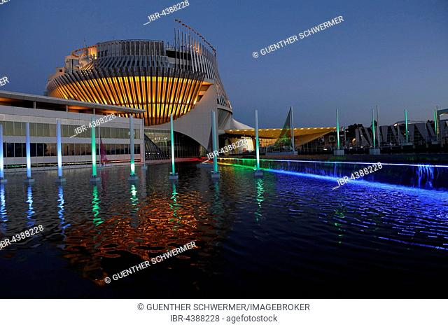 Montreal casino at dusk, illuminated, Montreal, Quebec Province, Canada