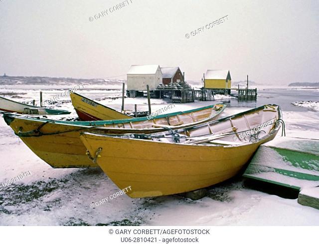 Dorys in winter at Blue Rocks, Nova Scotia, canada