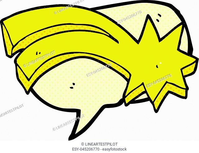 freehand drawn comic book speech bubble cartoon decorative shooting star