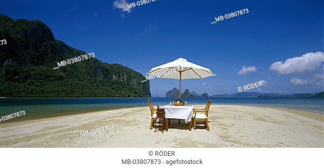Philippines, island Palawan, El Nido,  Bacuit archipelago, sandy beach, table,  covered, parasol, neighbor islands Series, Asia, southeast Asia