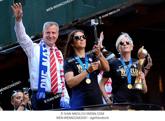 The United States women's national soccer team (USWNT) is honored with a ticker tape parade to celebrate their victory in the Women's World Cup Featuring: Bill...