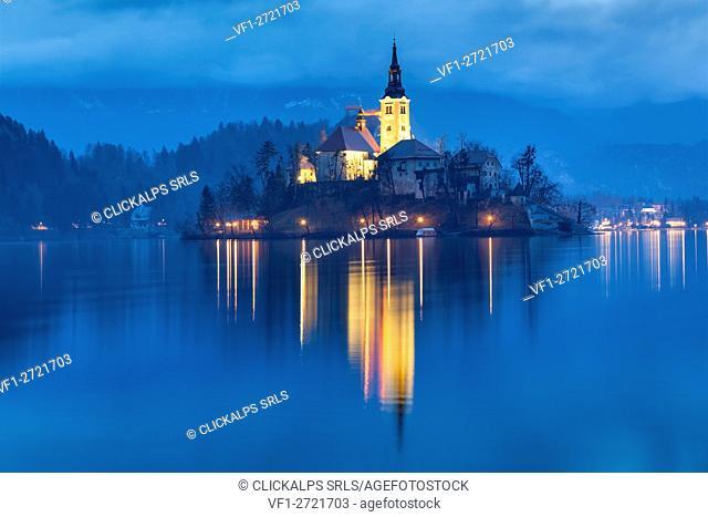 Europe, Slovenia, Upper Carniola. Iconic landscape of the lake of Bled