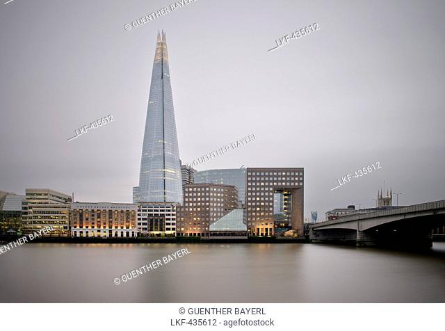 View of The Shard across the river Thames, skyscraper, City of London, England, United Kingdom, Europe, architect Renzo Piano, long time exposure