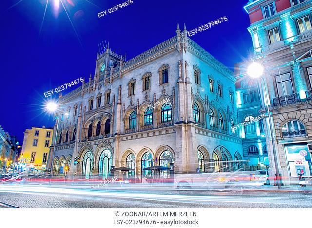 Lisbon Rossio train station at night